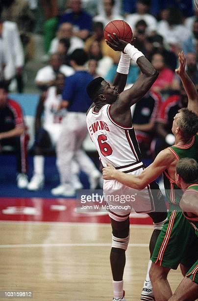 1992 Summer Olympics USA Patrick Ewing in action shot vs Lithuania during Men's Semifinals at Pavello Olimpic de Badalona Dream Team Badalona Spain...