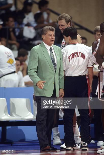 1992 Summer Olympics View of USA head coach Chuck Daly during game vs Angola Dream Team Badalona Spain 7/26/1992 CREDIT John W McDonough