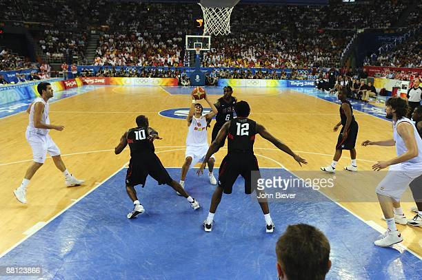 2008 Summer Olympics Spain Ricky Rubio in action vs USA during Men's Final at Olympic Basketball Gymnasium in Wukesong Culture and Sports Center...
