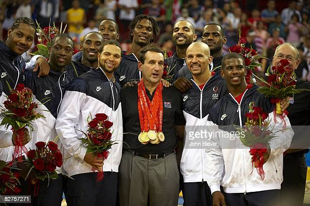 2008 Summer Olympics USA team and head coach Mike Krzyzewski victorious with gold medals after game vs Spain during Men's Final at Olympic Basketball...