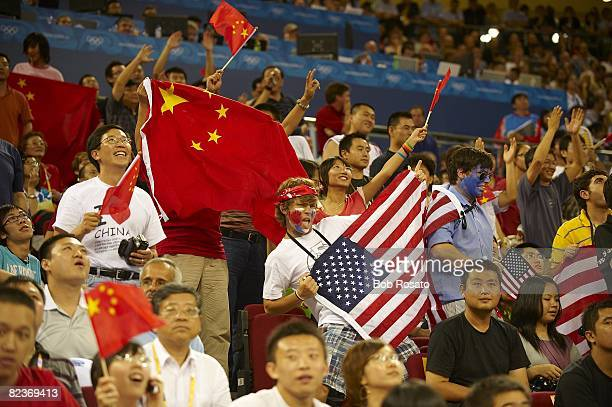 2008 Summer Olympics View of fans with flags in stands during USA vs China game of Men's Preliminary Round Group B at Olympic Basketball Gymnasium in...