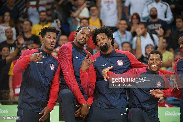 2016 Summer Olympics USA Jimmy Butler Kevin Durant DeAndre Jordan Kyle Lowry victorious during presentation ceremony after winning Gold in the Men's...