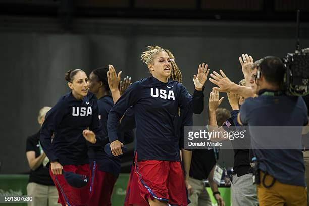 2016 Summer Olympics View of USA Diani Tauasi and Elena Delle Donne before Women's Group Stage Group B game at Carioca Arena 1 USA defeats China...