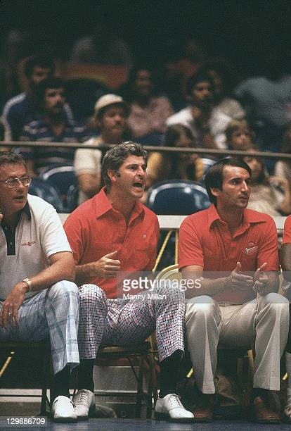 8th Pan American Games USA coaches Bobby Knight and Mike Krzyzewski on sidelines during game vs Brazil at Hiram Bithorn Stadium San Juan Puerto Rico...