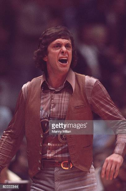 Basketball ABA Championship Denver Nuggets coach Larry Brown on sidelines during Game 3 vs New York Nets Uniondale NY 5/6/1976