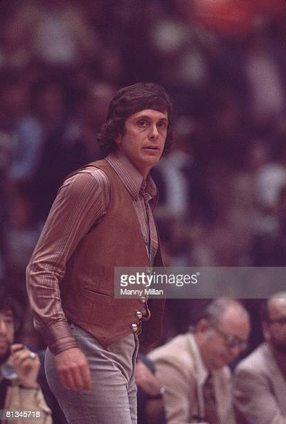 Basketball ABA Championship Denver Nuggets coach Larry Brown on sidelines during game vs New York Nets Uniondale NY 5/6/1976