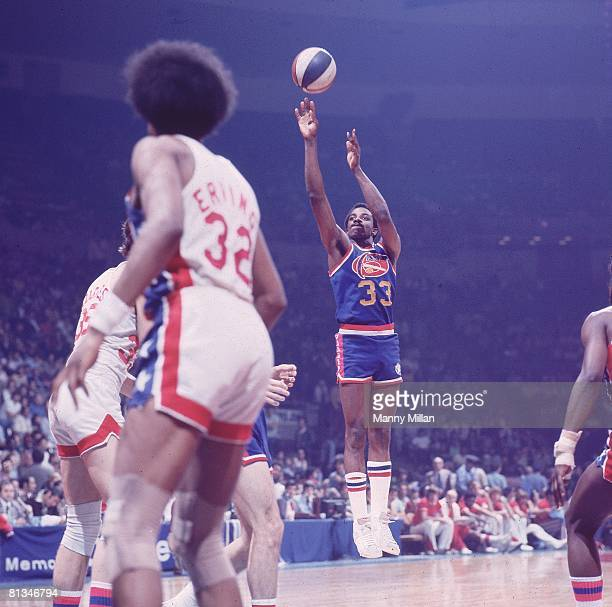 Basketball ABA Championship Denver Nuggets David Thompson in action taking shot vs New York Nets Uniondale NY 5/6/1976