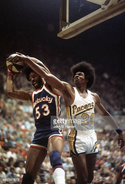 ABA Championship Kentucky Colonels Artis Gilmore in action rebouding vs Indiana Pacers Darnell Hillman at Market Square Arena Game 3 Indianapolis IN...