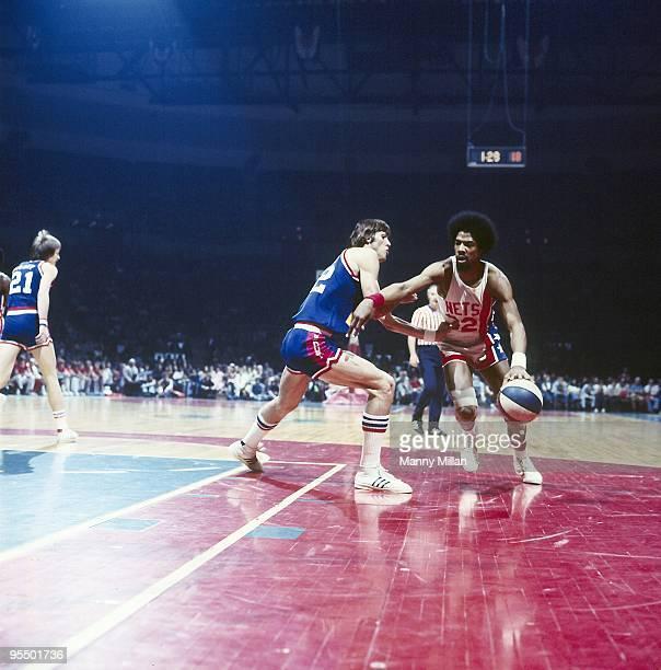 ABA Championship New York Nets Dr J Julius Erving in action vs Denver Nuggets Gus Gerard Game 4 Uniondale NY 5/8/1976 CREDIT Manny Millan