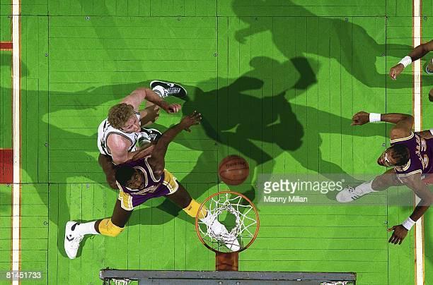 Basketball Aerial view of Boston Celtics Larry Bird in action vs Los Angeles Lakers Magic Johnson Boston MA 5/27/1985