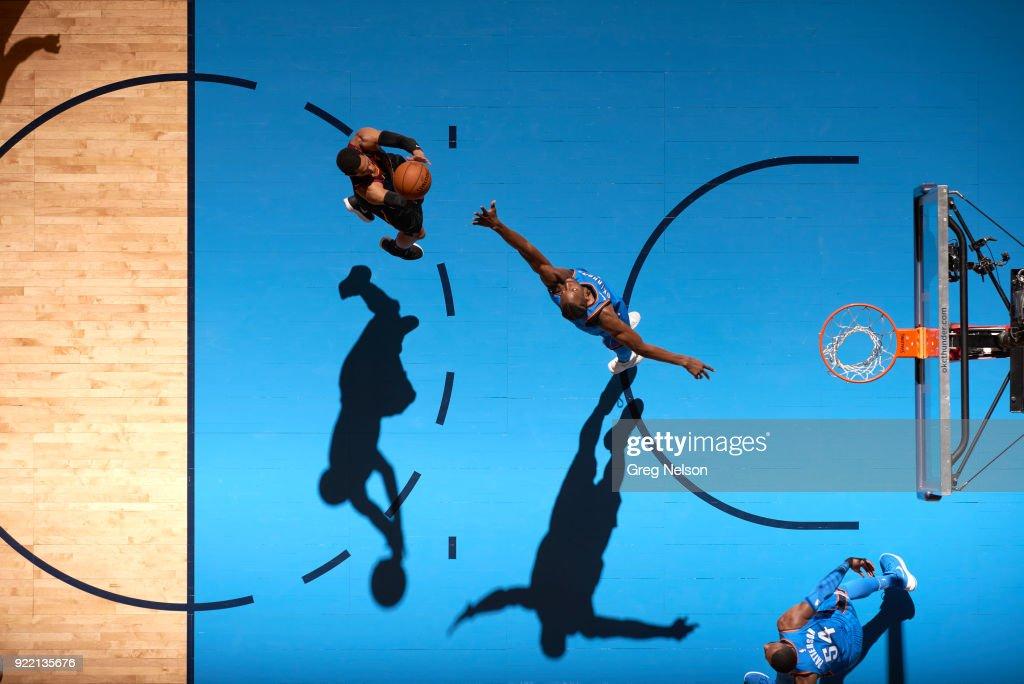 Aerial view of Cleveland Cavaliers Jordan Clarkson (8) in action vs Oklahoma City Thunder Jerami Grant (9) at Chesapeake Energy Arena. Greg Nelson TK1 )