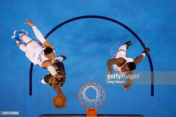 Aerial view of Cleveland Cavaliers Kyrie Irving in action vs Oklahoma City Thunder Russell Westbrook at Chesapeake Energy Arena Oklahoma City OK...