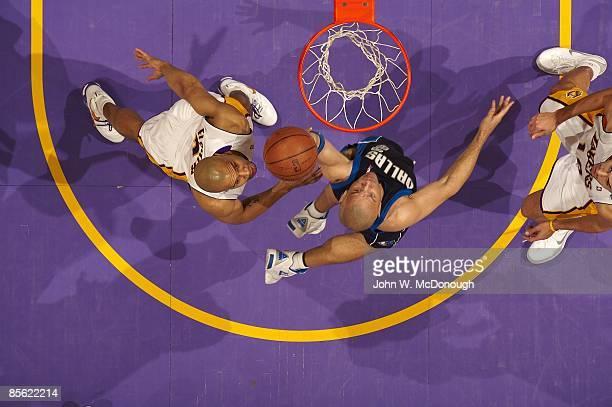 Aerial view of Dallas Mavericks Jason Kidd in action vs Los Angeles Lakers Los Angeles CA 3/15/2009 CREDIT John W McDonough
