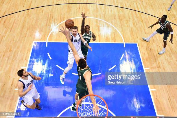 Aerial view of Dallas Mavericks Luka Doncic in action vs MIlwaukee Bucks Eric Bledsoe at American Airlines Center. Dallas, TX 2/8/2019 CREDIT: Greg...