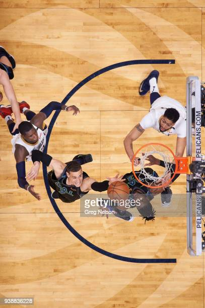 Aerial view of Dallas Mavericks Nerlens Noel and Dwight Powell in action vs New Orleans Pelicans Anthony Davis and Cheick Diallo at Smoothie King...