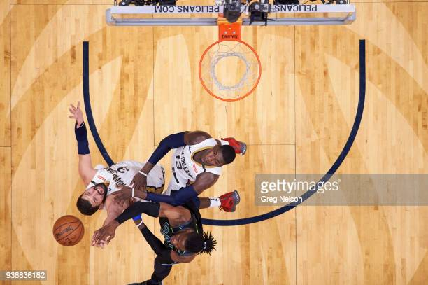Aerial view of Dallas Mavericks Nerlens Noel in action vs New Orleans Pelicans Nilola Mirotic and Cheick Diallo at Smoothie King Center. New Orleans,...