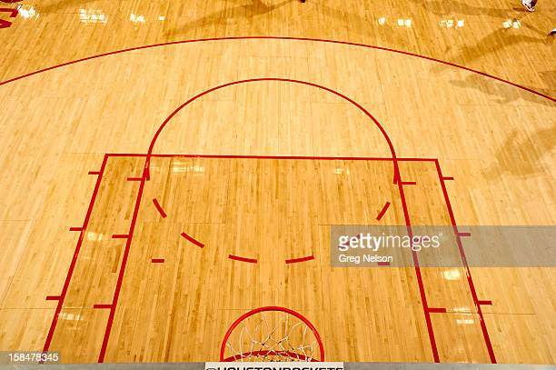 Aerial view of empty court during Houston Rockets vs Boston Celtics game at Toyota Center Houston TX CREDIT Greg Nelson