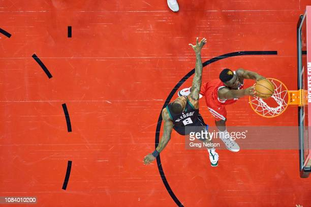 Aerial view of Houston Rockets Clint Capela in action, dunking vs Milwaukee Bucks Eric Bledsoe at Toyota Center. Houston, TX 1/9/2019 CREDIT: Greg...