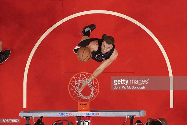 Aerial view of Los Angeles Clippers Blake Griffin in action vs Chicago Bulls at Staples Center Los Angeles CA CREDIT John W McDonough