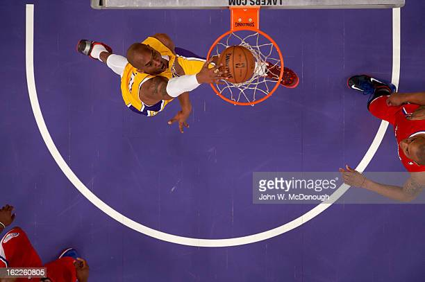 Aerial view of Los Angeles Lakers Kobe Bryant in action dunk vs Los Angeles Clippers at Staples Center Los Angeles CA CREDIT John W McDonough