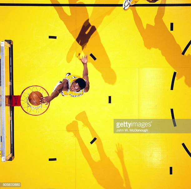 Aerial view of Los Angeles Lakers Kobe Bryant in action dunk vs Chicago Bulls at Great Western Forum Inglewood CA CREDIT John W McDonough