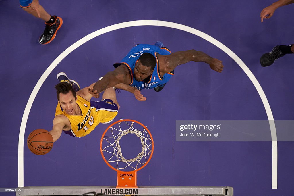 Aerial view of Los Angeles Lakers Steve Nash (10) in action vs Oklahoma City Thunder at Staples Center. John W. McDonough F45 )