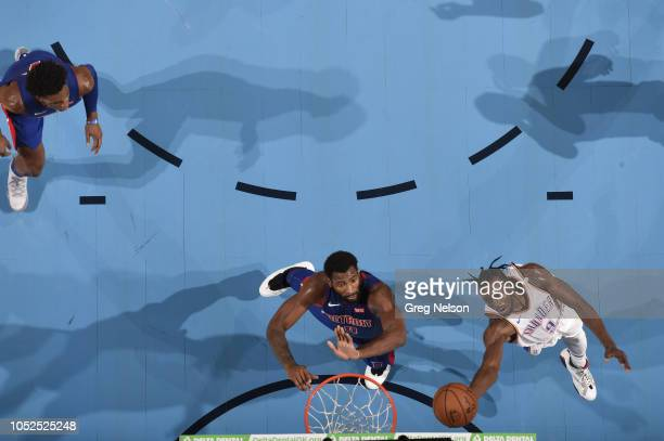Aerial view of Oklahoma City Thunder Jerami Grant in action vs Detroit Pistons Andre Drummond during preseason game at Chesapeake Energy Arena...