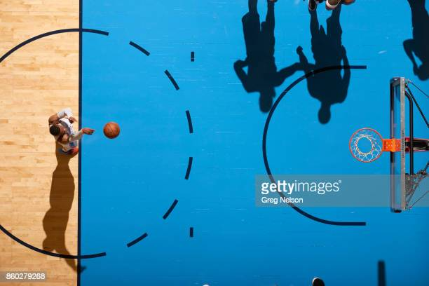 Aerial view of Oklahoma City Thunder Russell Westbrook during free throw vs New Orleans Pelicans during preseason game at Chesapeake Energy Arena...
