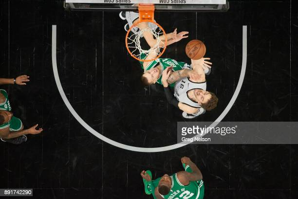 Aerial view of San Antonio Spurs Pau Gasol in action vs Boston Celtics Daniel Theis at ATT Center San Antonio TX CREDIT Greg Nelson