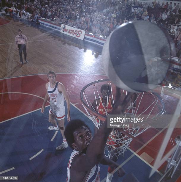 Aerial view of Utah Stars Moses Malone in action taking layup vs San Diego Conquistadors Salt Lake City UT