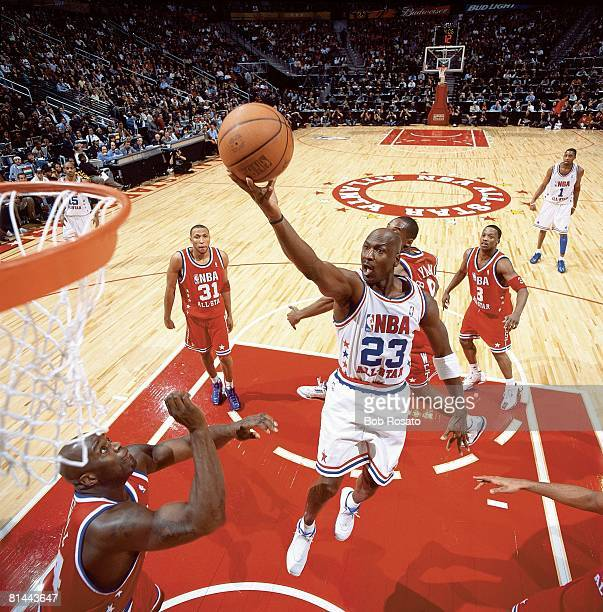 Basketball All Star Game East's Michael Jordan in action vs West's Shaquille O'Neal Philips Arena Atlanta GA 2/9/2003