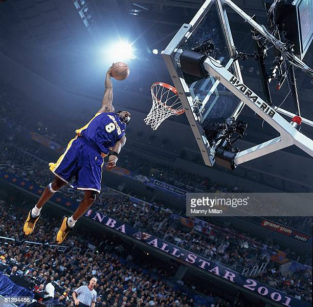 Basketball: All Star Game, Los Angeles Lakers Kobe Bryant in action, making dunk during game, Washington, DC 2/11/2001