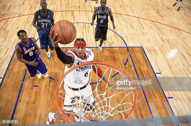Basketball All Star Game Philadelphia 76ers Allen Iverson in action taking layup during game Philadelphia PA 2/11/2002