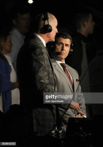 ESPN basketball analyst Jay Bilas and ESPN playbyplay announcer Rece Davis during the game between the Miami Hurricanes and the North Carolina Tar...