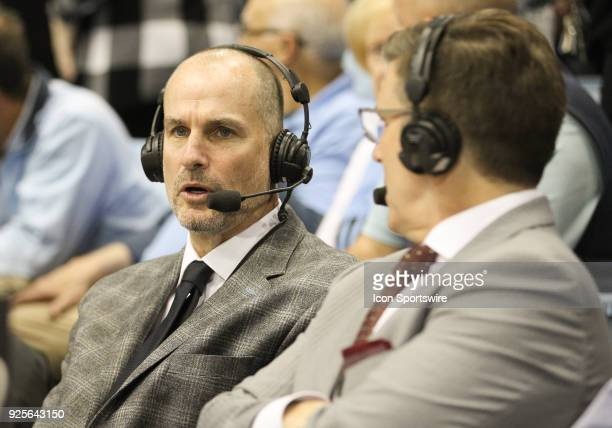 ESPN basketball analyst Jay Bilas during the game between the Miami Hurricanes and the North Carolina Tar Heels at the Dean Smith Center on February...