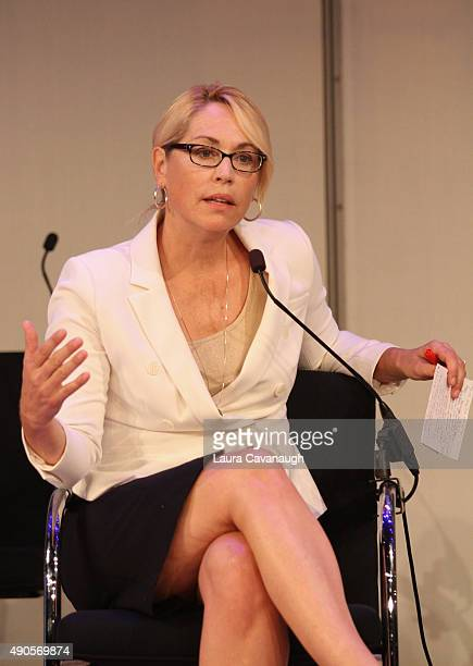 Basketball Analyst Reporter Doris Burke speaks onstage at the NBA on ESPN panel presented by ESPN during Advertising Week 2015 AWXII at the Times...
