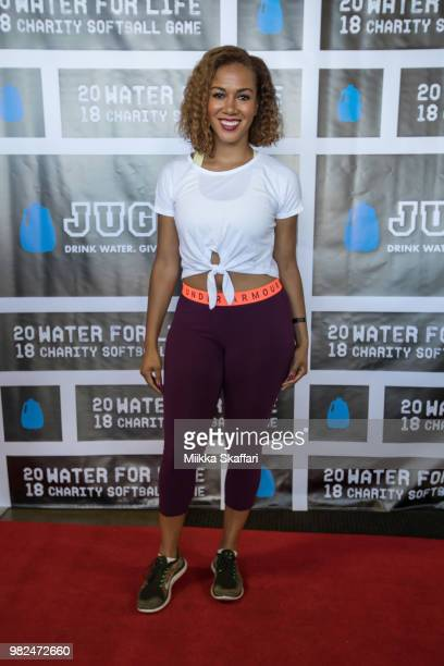 Basketball Analyst Rosalyn GoldOnwude arrives at Water For Life Charity Softball Game at OaklandAlameda County Coliseum on June 23 2018 in Oakland...