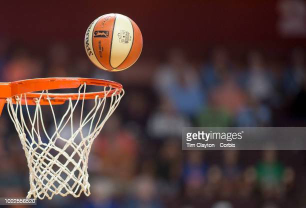 A basketball and basket during the Connecticut Sun Vs Los Angeles Sparks WNBA regular season game at Mohegan Sun Arena on August 19 2018 in...