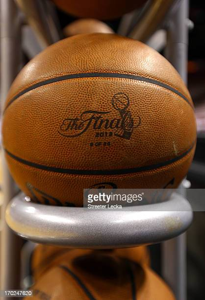NBA basketball are seen with the 2013 NBA Finals logo before Game Two of the 2013 NBA Finals between the Miami Heat and the San Antonio Spurs at...