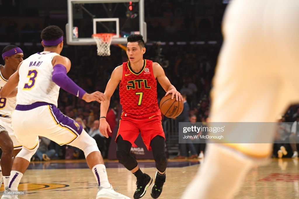 Atlanta Hawks Jeremy Lin In Action Vs Los Angeles Lakers At