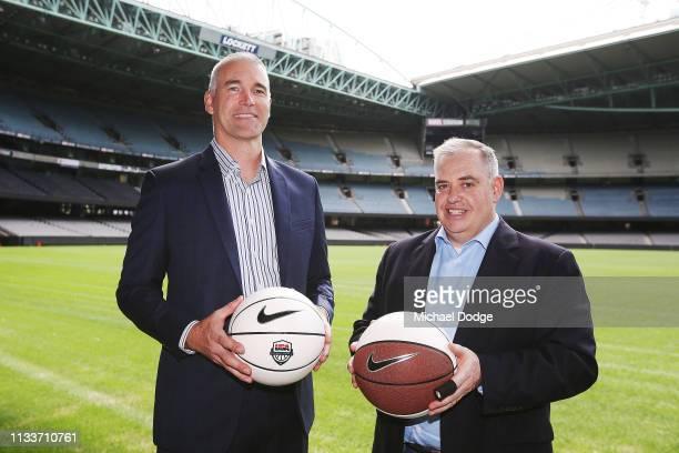 Basketball Australia Acting CEO Paul Maley and USA Basketball Men's National Team Director Sean Ford pose ahead of August's Team USA v Australian...