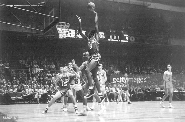 Basketball Boston Celtics Bill Russell in action taking shot vs New York Knicks New York NY