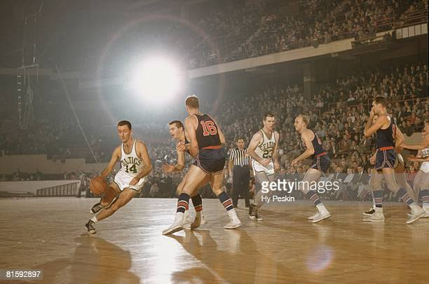 Basketball Boston Celtics Bob Cousy in action vs Fort Wayne Pistons Boston MA