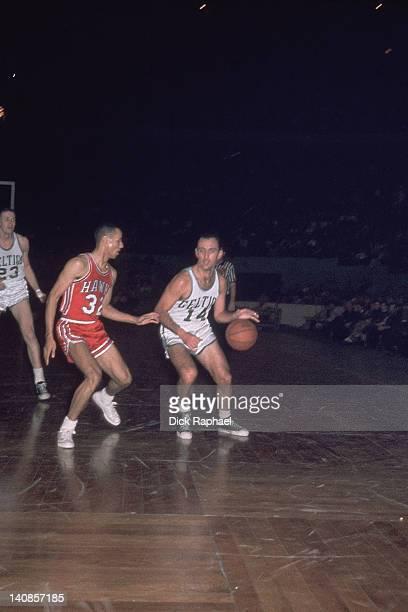 Boston Celtics Bob Cousy in action vs St Louis Hawks Lenny Wilkens at Boston Garden Boston MA CREDIT Dick Raphael