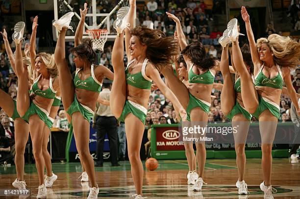 Basketball Boston Celtics dance team cheerleaders on court during preseason game vs New York Knicks Boston MA
