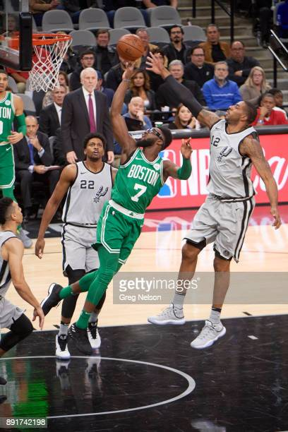 Boston Celtics Jaylen Brown in action vs San Antonio Spurs LaMarcus Aldridge at ATT Center San Antonio TX CREDIT Greg Nelson