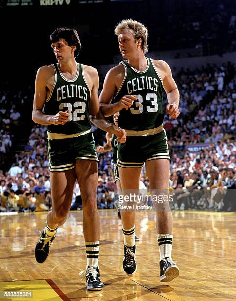 Boston Celtics Kevin McHale and Larry Bird in action vs Los Angeles Lakers at The Forum Inglewood CA CREDIT Steve Lipofsky