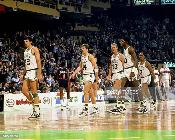 Boston Celtics Kevin McHale Danny Ainge Larry Bird Robert Parish and Dennis Johnson during game vs Detroit Pistons at Boston Garden Boston MA CREDIT...