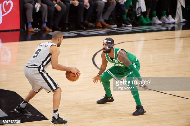 Boston Celtics Kyrie Irving in action defense vs San Antonio Spurs Tony Parker at ATT Center San Antonio TX CREDIT Greg Nelson