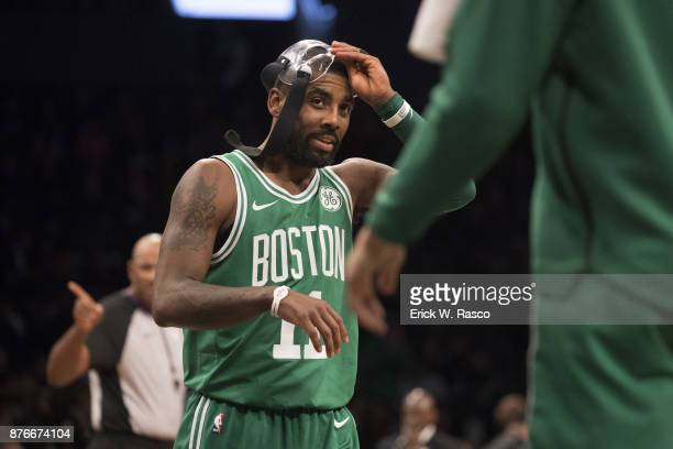 Boston Celtics Kyrie Irving wearing face mask during game vs Brooklyn Nets at Barclays Center Brooklyn NY CREDIT Erick W Rasco